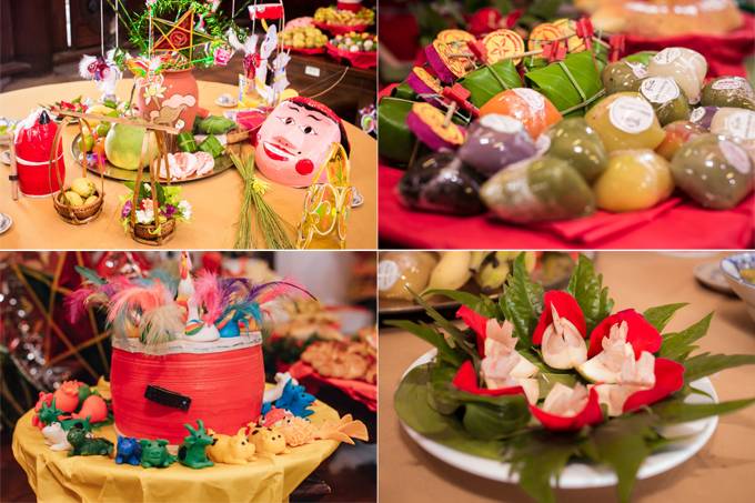 Các loại bánh gia truyền hiện diện trên mâm cỗ tại Thu Vọng Nguyệt Các con giống bột quen thuộc với nhiều thế hệthiếu trầu têm cánh phượnghay rọ heo nướng
