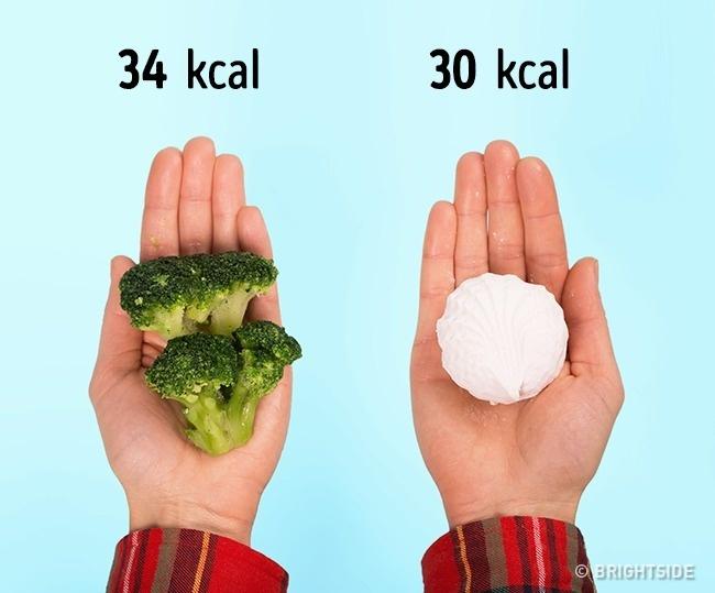 100 g bông cải xanh chứa 34 kcal trong khi 1 viên marshmallow chỉ chứa 32 kcal.