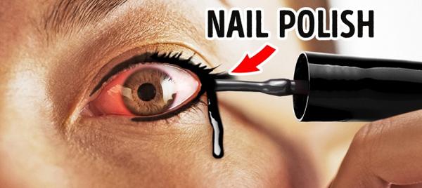 Sơn móng tay không thể thay thế eyeliner. Chúng có thể gây ra nhiều bệnh về mắt khi sử dụng.