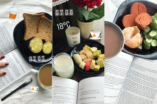 Thực đơn bữa sáng dinh dưỡng với những món ăn quen thuộc của người Việt như trứng, khoai lang, chuối... giúp Kim Ngân giữ dáng hiệu quả.