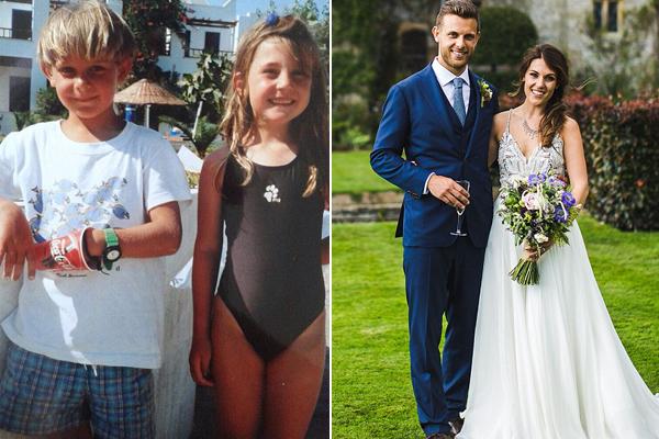 Cặp đôi trong bức ảnh thơ ấu 20 năm trước (trái) và trong đám cưới mùa hè vừa qua (phải).