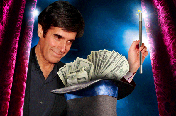 Ảo thuật gia David Copperfield xếp vị trí thứ 5 với tài sản 875 triệu USD. Hiện nay, mỗi năm ngôi sao 61 tuổi vẫn trình diễn 600 buổi ảo thuật ở Las Vegas, còn lại thời gian rảnh rỗi ông tới nghỉ ngơi ở hòn đảo riêng tại Bahamas.