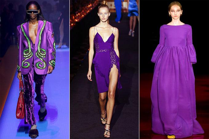 Màu tím xuất hiện trong bộ sưu tập xuân hè của các nhà mốt thế giới.