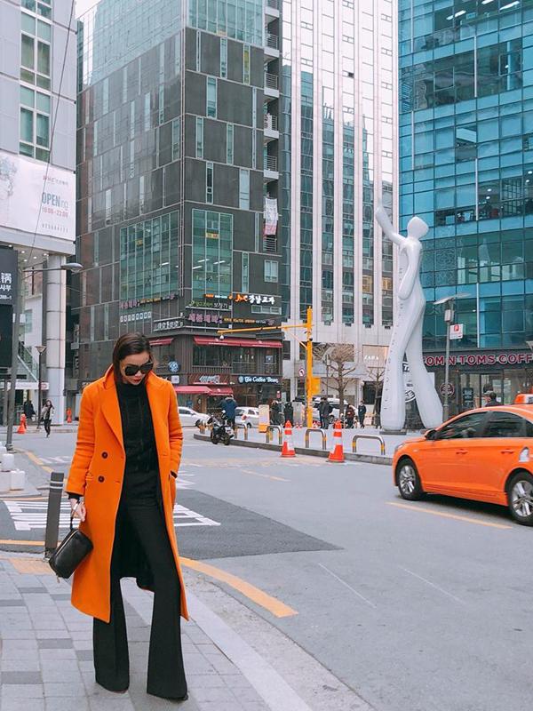 Trend coat là một trong những món đồ được phái đẹp xứ ôn đới yêu thích. Bởi nó có khả năng giữ ấm tôt và mang lại nét sang chảnh cho người sử dụng. Di diện một cây đen bao trùm cho áo cổ lọ, quần loe, clutch, Hồ Ngọc Hà tạo điểm nhấn bằng áo cam vải dạ.