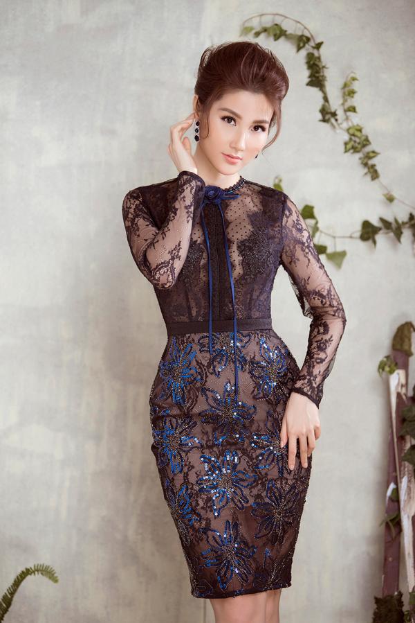 Diễm My 9x diện váy sang trọng thiết kế cùng Đỗ Long