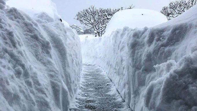Nhiều nơi, tuyết mới chỉ rơi 2 ngày mà lớp tuyết đã dày tới hơn 160 cm.