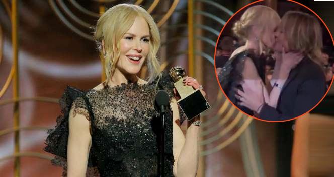 Nicole Kidman hạnh phúc hôn ông xã Keith Urban khi lên nhận giải Nữ diễn viên chính xuất sắc phim truyền hình ngắn tập. Trong bài phát biểu của mình, cô cũng đốn tim khán giả với chia sẻ ngọt ngào dành cho Keith. Nữ diễn viên thổ lộ: Khi má em kề sát bên má anh, mọi thứ như tan chảy và đó là tình yêu. Em yêu anh nhiều lắm!.