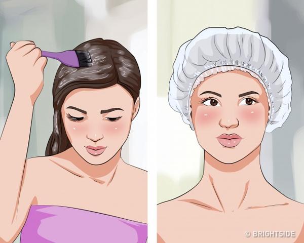 Hấp lạnh với kem ủ tóc hoặc dầu xả Mỗi tuần, bạn có thể dành 1 - 2 buổi hấp lạnh tóc tại nhà bằng cách thoa kem ủ tóc hoặc dầu xả, đội mũ quấn tóc trong khoảng 1 tiếng rồi xả sạch.