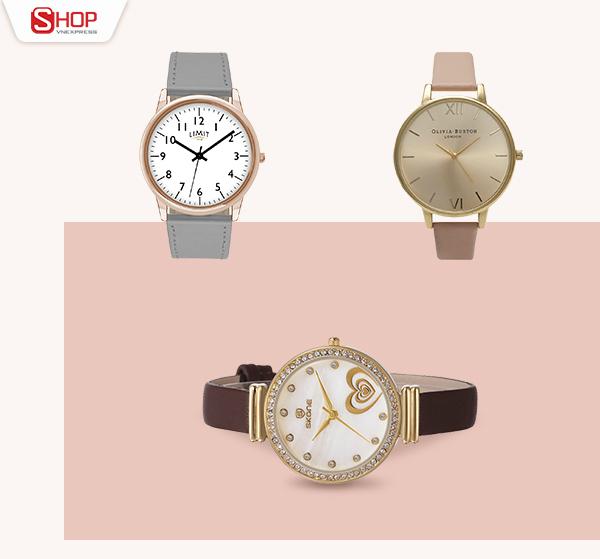 Ngoài công dụng xem giờ, đồng hồ còn tô điểm sự sang trọng cho phái nữ. Với chất liệu dây dạ, đồng hồ mặt tròn đính đá sẽ dễ dàng lấy lòng các tín đồ thời trang.