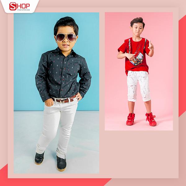 Không chỉ với bố mẹ, thời trang cho bé cũng ngày càng đa dạng hơn. Bé trai có thể dện quần jeans kết hợp denim hoặc sơmi cá tính hoặc áo phông với quần ngố. Thời điểm giao mùa, thời trang cho bé cần mix thêm áo khoác nhẹ để giữ sức khỏe.
