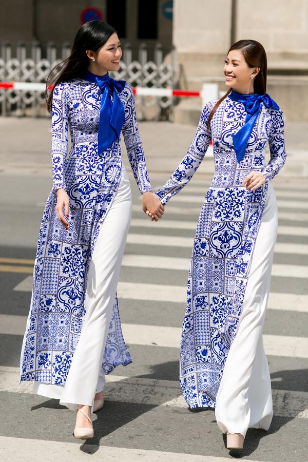 Hai nàng Á hậu VN 2016 Thanh Thanh Tú và Diễm Trang thể hiện sự ăn ý trong diễn xuất ở bộ ảnh giới thiệu các mẫu áo dài mới cho mùa xuân 2018.