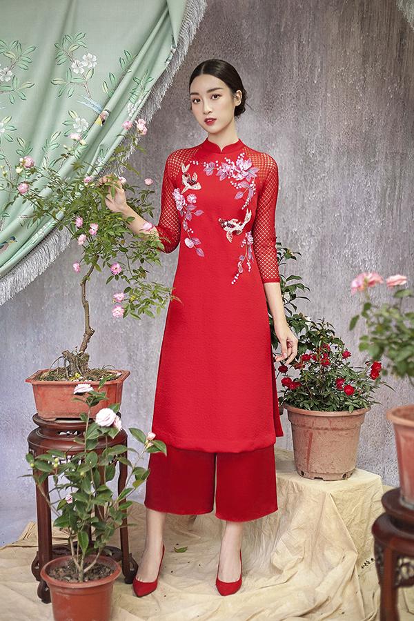 Đỗ Mỹ Linh gợi ý chọn áo dài thêu hoa mặc Tết - 10