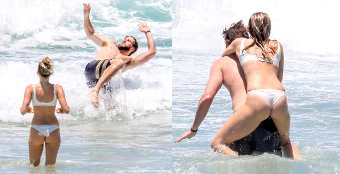 Miley và Liam hiện sống cùng gia đình anh trai của Liam - Chris Hemsworth - tại biệt thự đi thuê cạnh bãi biển.