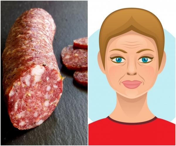 Thịt chế biến sẵn Salami, các loại thịt xông khói đều đã qua xử lý và được tẩm ướp lượng muối lớn, có thể gây ra mụn. Các loại thực phẩm này còn có thể chứa nitri, thành phần phá huỷ collagen và eslatin, khiến da bị lão hoá nhanh chóng.