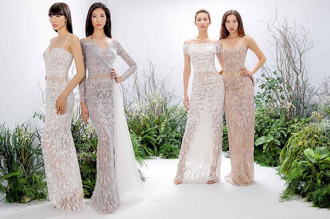 Ngay sau khi rời sàn diễn, những mẫu váy dài mang phong cách nữ thần đã nhanh chóng chiếm được cảm tình của các người đẹp Việt.