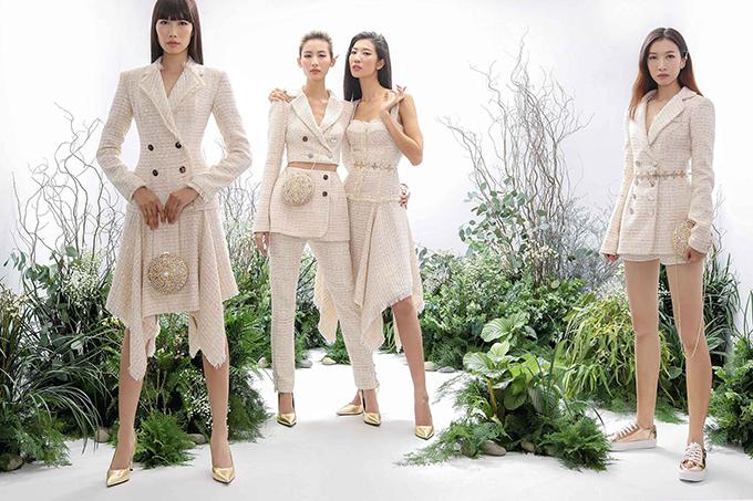 Cùng với ren, những loại vải thuộc hot trend của xu hướng thời trang 2018 như nhung, sequins, tweed cũng được thể hiện một cách sáng tạo trên nhiều phom dáng hiện đại.