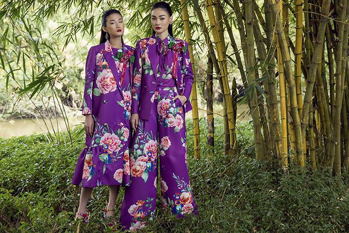 Hoà cùng trào lưu sử dụng sắc tím - tông màu được dự báo sẽ khiến chị em mê đắm ở mùa thời trang 2018, nhà mốt Việt cũng có cách thể hiện hoạ tiết độc đáo để mang tới sức lôi cuốn riêng.