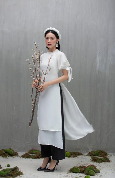 Hạ Vi đẹp mong manh với áo dài cách tân của nhà thiết kế Lucie - 4