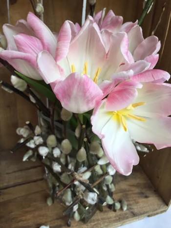 3. Hoa tầm xuân và tulip không phải là sự kết hợp truyền thống. Nhưng hoa tầm xuân là sự khởi đầu của năm mới về mặt sinh học, trong khi hoa tulip giúp tổng thể trở nên mềm mại, nhẹ nhàng. Cách kết hợp này giúp bạn thể hiện chất riêng.