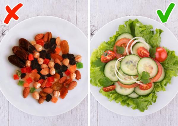Dùng đĩa lớn khi ăn rau
