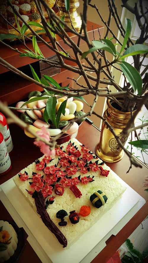 Bánh gato xôi hoa đào.