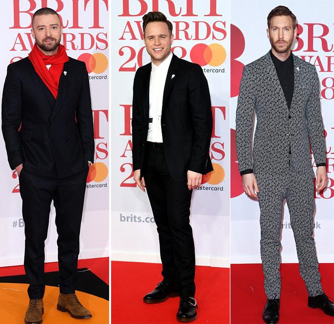 Justin Timberlake, Olly Murs và Calvin Harris phong cách trên thảm đỏ.