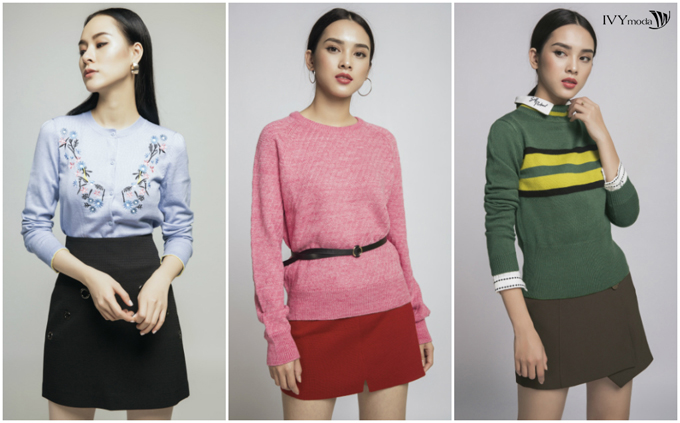Những thiết kế áo len màu pastel, hồng hay xanh olive giúp tăng độ trẻ trung của người mặc.