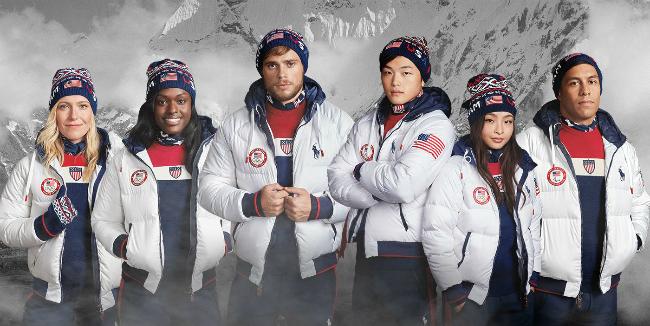 Đồng phục tại lễ bế mạc Olympic PyeongChang của đội tuyển Mỹ.