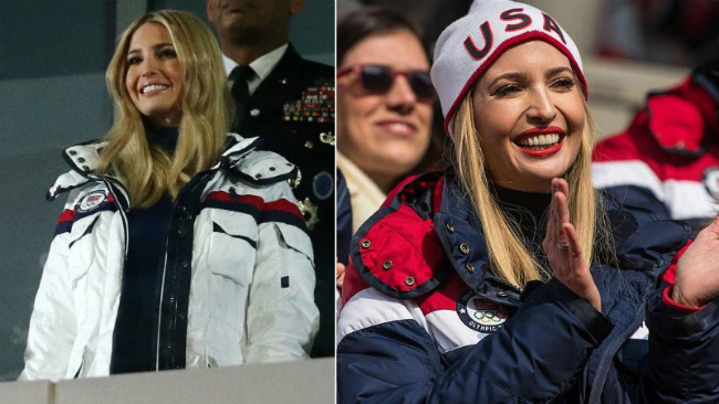 Ivanka Trump diện áo khoác đồng phục đội tuyển Mỹ tại Olympic PyeongChang.