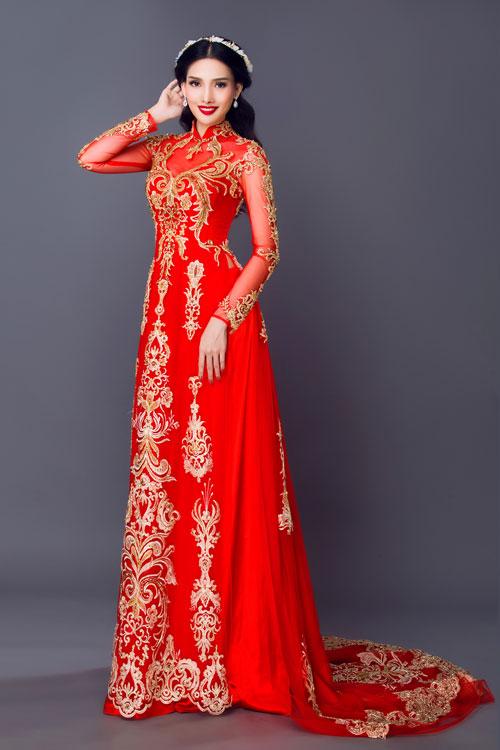 Một gợi ý khác cho phong cách tương tự là áo dài cưới đuôi dài. Đây là một thiết kế lấy cảm hứng từ phom dáng của chiếc váy cưới.