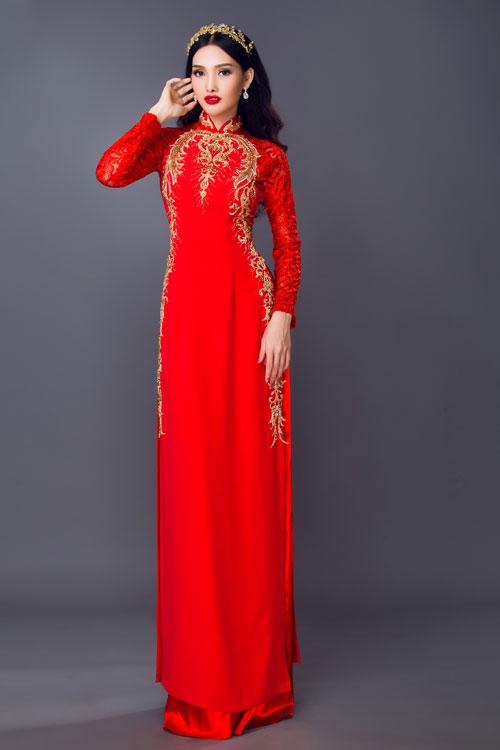 Cùng với khăn voan, cô dâu có thể kết hợp mặc áo dài và sử dụng phụ kiện tóc thường dùng khi mặc váy cưới.