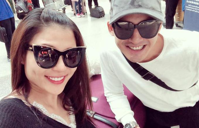 Thuý Diễm và Lương Thế Thành đăng ảnh thông báo đã hạ cánh an toàn xuống đất Mỹ, chuẩn bị cho một tháng công tác.
