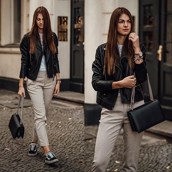 Trắng, xám và đen cũng là những tông màu dễ dàng tạo nên sự liên kết và mang đến tổng thể hoàn chỉnh cho người mặc với các mẫu trang phục ứng dụng hàng ngày.
