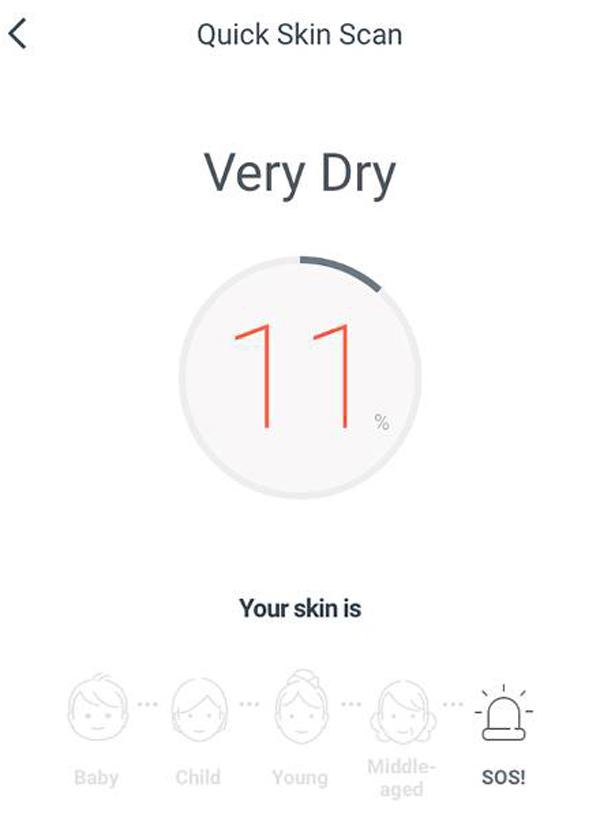 Trước khi bước vào cuộc thử nghiệm chu trình dưỡng da kiểu Hàn Quốc, Lindsey được soi da bằng máy chuyên dụng và nhận thấy kết quả: làn da khô nghiêm trọng, độ ẩm trên da chỉ đạt 11%.