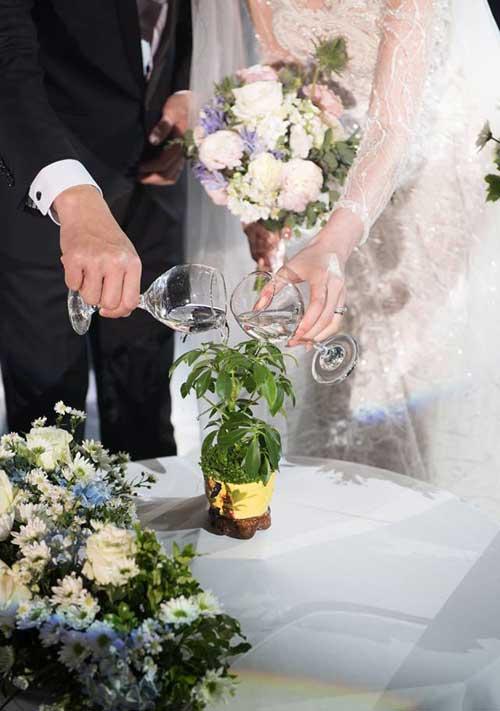 Tham dự tiệc cưới của cặp trai tài, gái sắc này, ngoài việc chứng kiến những nghi thức của hôn lễ thông thường, khách mời còn có thật nhiều trải nghiệm: Xúc động khilời dặn dò của đại diện hai bên gia đình; thấm thía với lời giải thích của sư thày về ý nghĩa hôn nhân, rồi cùng cười vui hòa vào các trò chơi.Trong tiệc cưới, cô dâu Thu Trang và chú rể Thanh Hưng đã cùng nhau tưới nước cho một chậu cây tượng trưng cho lời hứa sẽ luôn đồng hành để ươm mầm hạnh phúc.