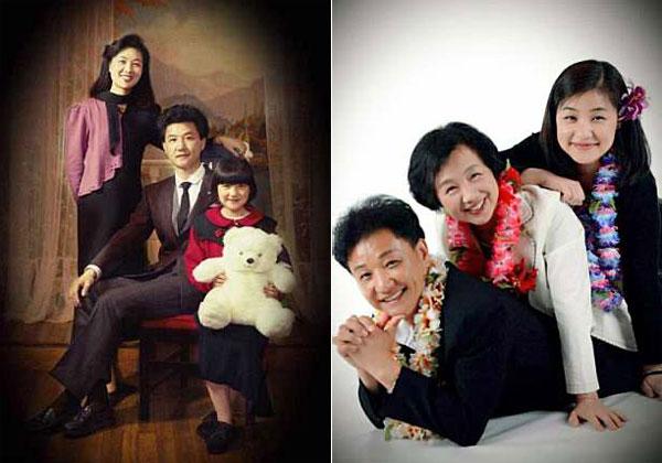Ông Hu bên vợ và con gái năm 1991 (ảnh trái) và 20014 (ảnh phải).
