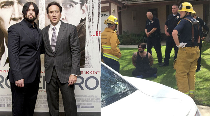 Con trai của Nicolas Cage là Weston Cage từng bị còng tay đưa về đồn vì bạo lực gia đình vào năm 2011. Năm 2017, Weston vướng rắc rối lần nữa vì lái xe trong lúc say xỉn, đâm vào gốc cây và chạy trốn cảnh sát (ảnh phải). Nam diễn viên 26 tuổi sau đó đã phải vào trại cai nghiện.