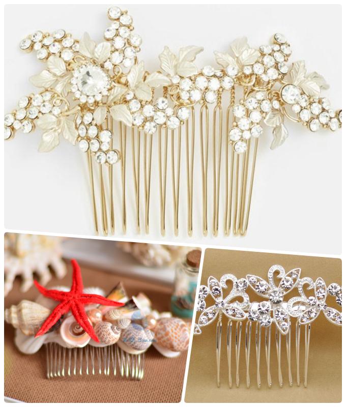 Lược cài tóc cô dâu đa dạng từ đính đá, kết hoa đến đính vỏ sò.