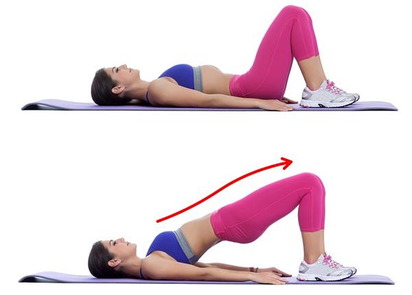 Nằm ngửa trên thảm, hai gối co lại, hai tay duỗi thẳng, dùng lực hông, mông nâng người lên cao tạo thành đường