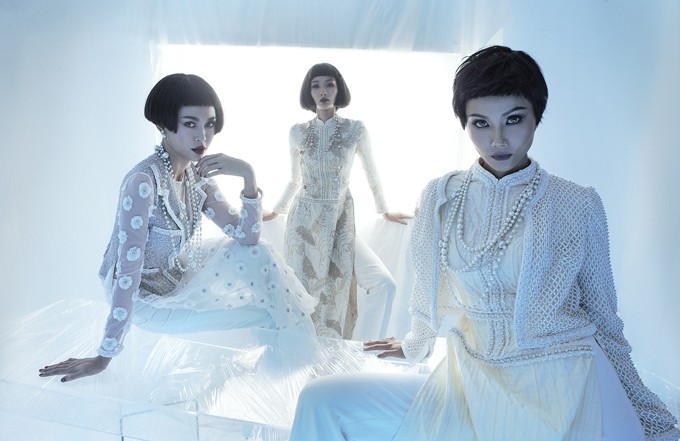 Tinh thần tỉ mỉ cầu toàn thẩm thấu vào từng thớ vải đường may hay chi tiết đính kết trên mỗi trang phục được ra đời từ nhà mốt Công Trí.