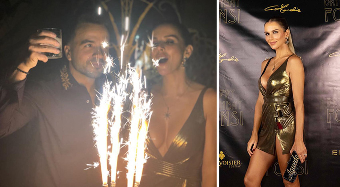 Luis Fonsi bên bà xã trong tiệc sinh nhật.