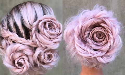 Tuyệt tác tóc tết hình hoa hồng 'đốn tim' phái đẹp