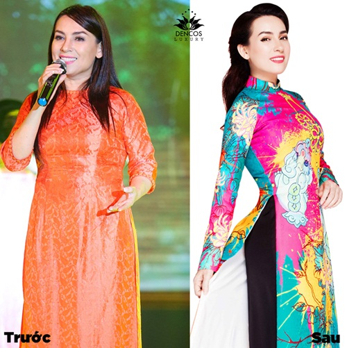 Cùng trong trang phục áo dài, Phi Nhung khoe dáng chữ S thon gọn, khác hẳn lòng eo khiếm khuyết, lộ mỡ thừa vài tháng trước