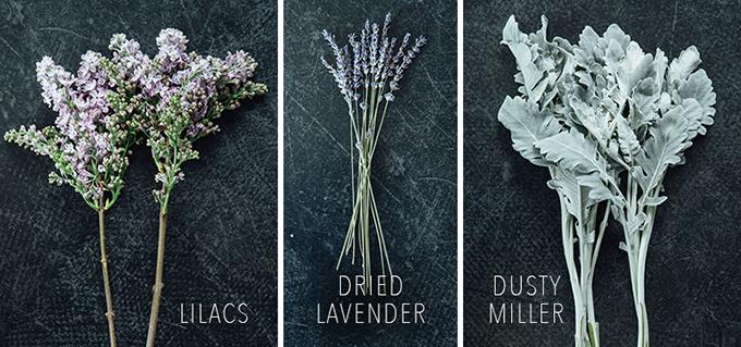 Sau đó chọn tiếp hoa tử đinh hương màu tím, hoa oải hương khô và lá bụi.