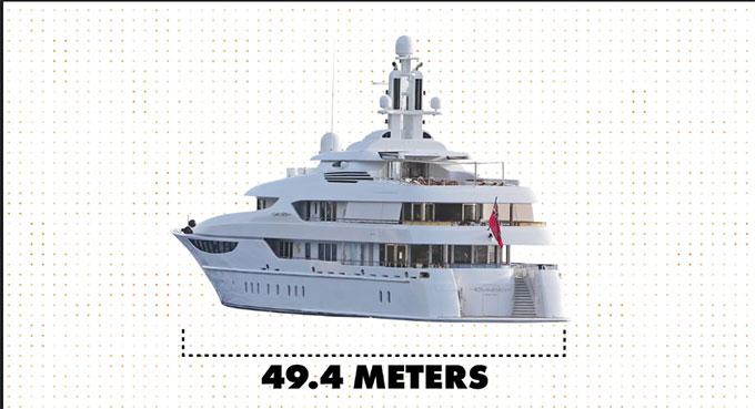 Du thuyền có chiều dài gần 50m, bằng nửa sân bóng đá.