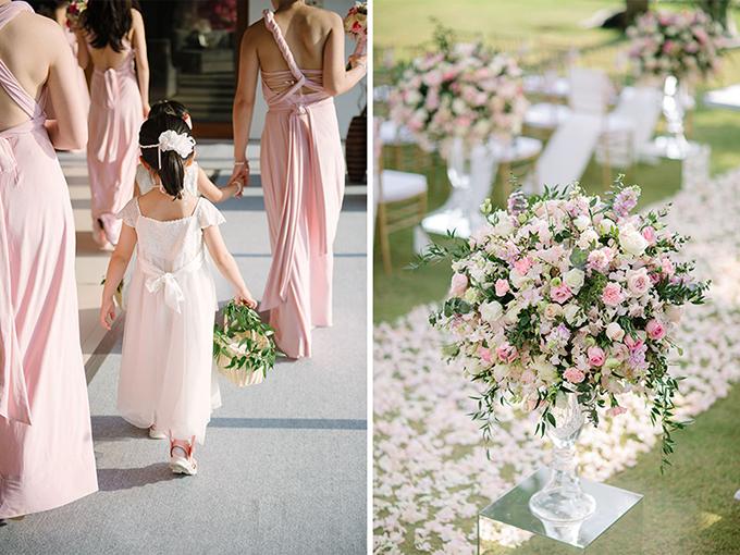 Dàn phù dâu diện những bộ váy hồng tươi sáng.