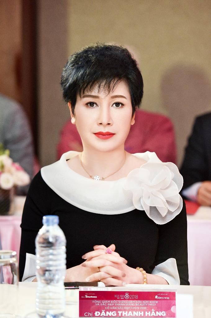 Chị Đặng Thanh Hằng (51 tuổi) - cố vấn sắc đẹp Hoa hậu Việt Nam, Chủ tịch Tập đoàn Thanh Hằng.Trong hai mùa giải trước, sự cống hiến của nữ cố vấn Thanh Hằng là nhân tố quan trọng giúp các thí sinh tự tin toả sáng, góp phần vào thành công của cuộc thi.