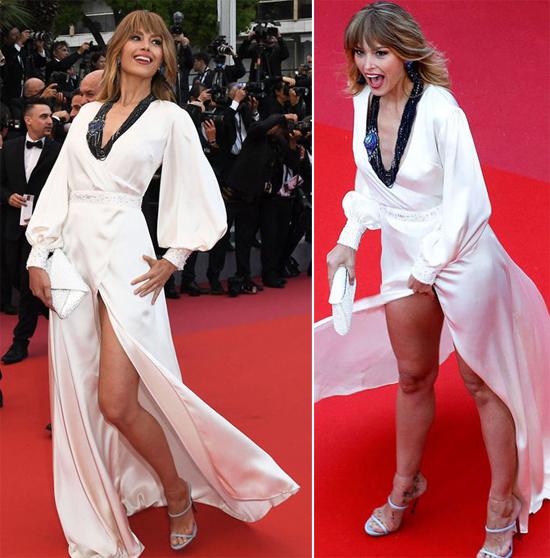 Cô tạo dáng đủ kiểu bất chấp váy xẻ cao và gió tốc.