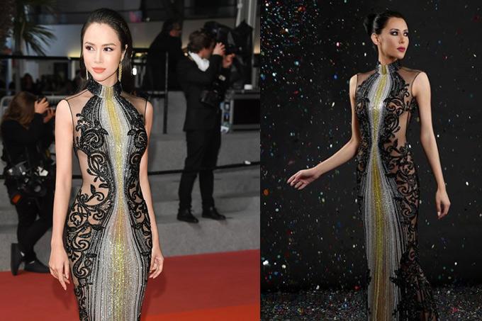 Vũ Ngọc Anh bị bóc mặc váy của thương hiệu Labourjoisie (phải) nhưng nói là hàng hiệuElie Saab.