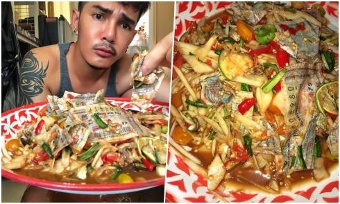 'Thánh ăn cay Thái Lan' gây sốt khi ăn gỏi vé số